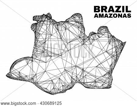 Network Irregular Mesh Amazonas State Map. Abstract Lines Are Combined Into Amazonas State Map. Line
