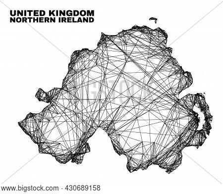 Wire Frame Irregular Mesh Northern Ireland Map. Abstract Lines Are Combined Into Northern Ireland Ma