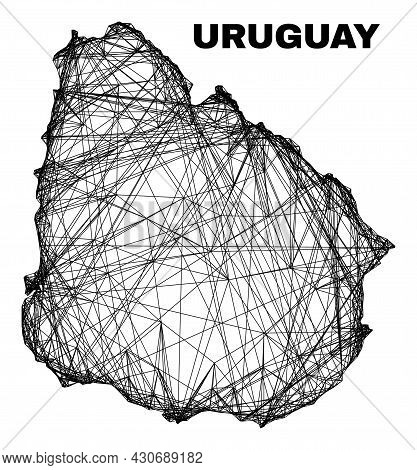 Net Irregular Mesh Uruguay Map. Abstract Lines Form Uruguay Map. Wire Frame Flat Net In Vector Forma
