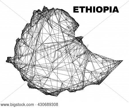 Network Irregular Mesh Ethiopia Map. Abstract Lines Are Combined Into Ethiopia Map. Linear Frame 2d