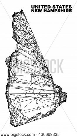Carcass Irregular Mesh New Hampshire State Map. Abstract Lines Are Combined Into New Hampshire State