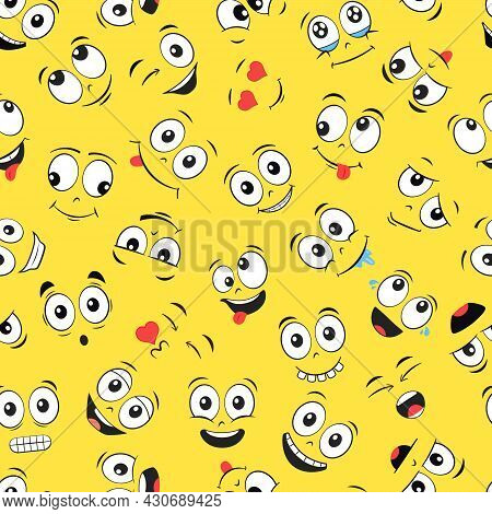 Cartoon Faces Seamless Pattern. Laughing And Smiling Expressions. Vector Illustration