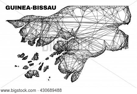Wire Frame Irregular Mesh Guinea-bissau Map. Abstract Lines Are Combined Into Guinea-bissau Map. Wir