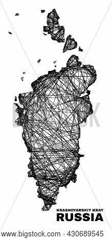 Net Irregular Mesh Krasnoyarskiy Kray Map. Abstract Lines Form Krasnoyarskiy Kray Map. Wire Frame Fl