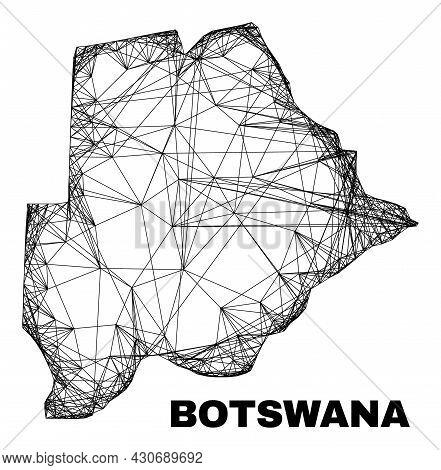 Carcass Irregular Mesh Botswana Map. Abstract Lines Form Botswana Map. Linear Carcass 2d Net In Vect