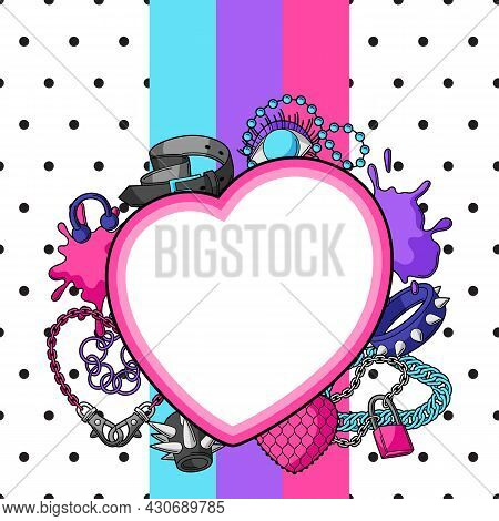 Background With Youth Subculture Symbols. Teenage Creative Illustration. Fashion Necklaces In Cartoo