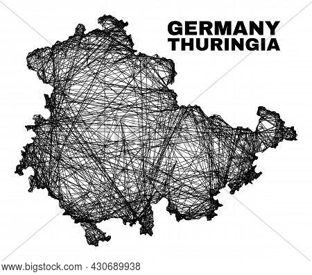 Carcass Irregular Mesh Thuringia Land Map. Abstract Lines Are Combined Into Thuringia Land Map. Wire