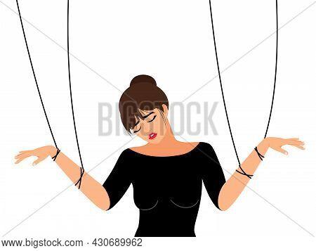 Woman Manipulating. Girl Toxic Relationship Manipulation Or Work Abuse Controlling, Female Partner E