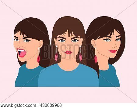 Woman Different Emotions. Happy Scared Angry Sad Stress Calm Strong Cartoon Girl Avatar, Vector Fema