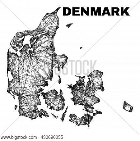 Wire Frame Irregular Mesh Denmark Map. Abstract Lines Are Combined Into Denmark Map. Wire Frame 2d N