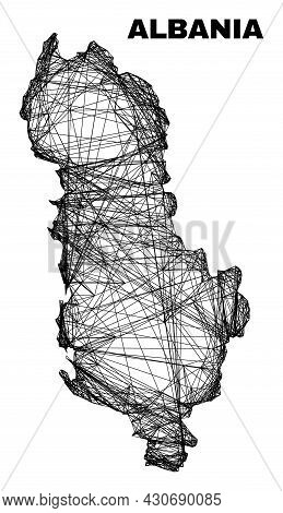 Wire Frame Irregular Mesh Albania Map. Abstract Lines Form Albania Map. Wire Carcass Flat Network In