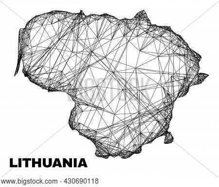 Carcass Irregular Mesh Lithuania Map. Abstract Lines Form Lithuania Map. Linear Carcass Flat Network