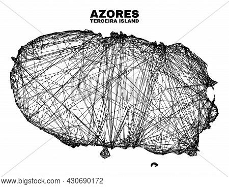 Wire Frame Irregular Mesh Terceira Island Map. Abstract Lines Form Terceira Island Map. Wire Frame F