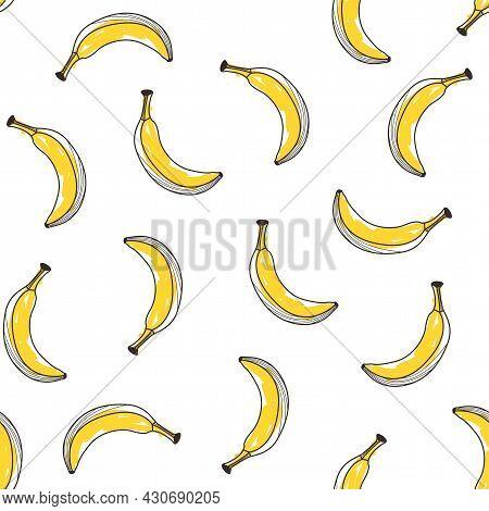 Seamless Yellow Banana Pattern Design, Hand Drawn Banana Pattern Template Vector