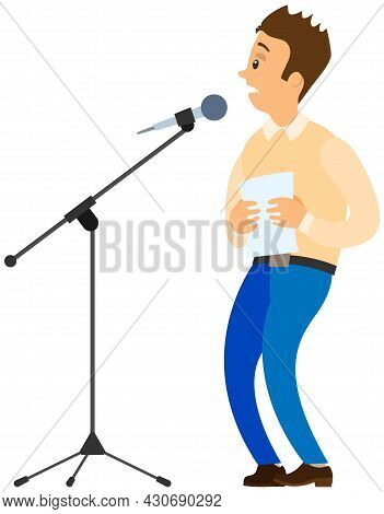 Fear Of Public Speaking. Cartoon Male Character Stands Near Microphone And Trembles With Fright. Man