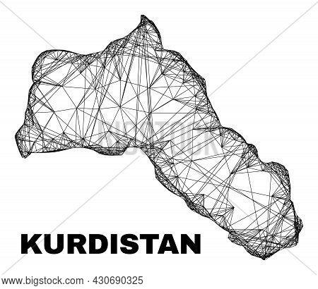 Network Irregular Mesh Kurdistan Map. Abstract Lines Are Combined Into Kurdistan Map. Wire Carcass 2