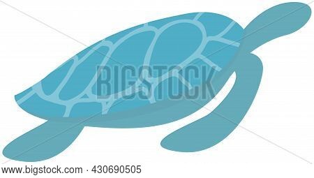 Sea Blue Turtle Swimming On White Background. Ocean Animal Cartoon Nautical Character Lives In Ocean