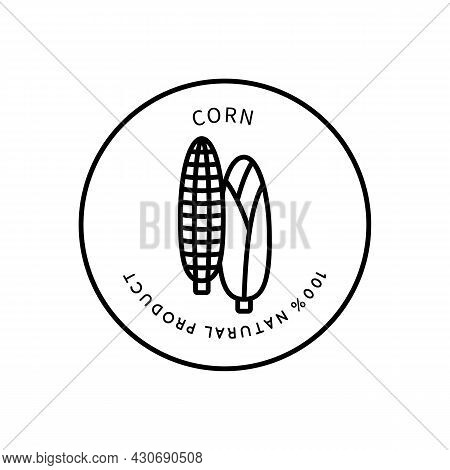 Line Icon Corn In A Simple Style. Natural Product. Vector Sign In A Simple Style Isolated On A White