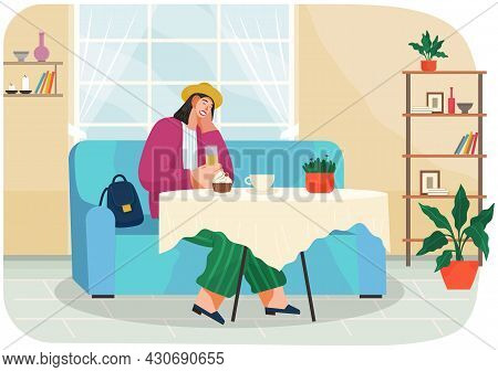 Woman Sitting Near Table In Cafe, Coffee House. Lady Tasting Drinks, Fresh Food In Restaurant. Femal