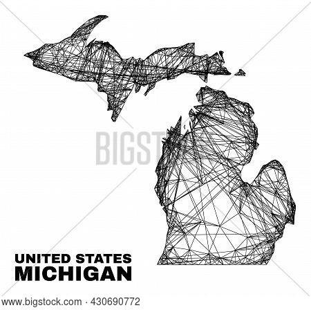 Carcass Irregular Mesh Michigan State Map. Abstract Lines Form Michigan State Map. Wire Carcass 2d N