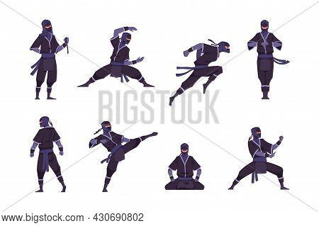 Cartoon Ninja. Funny Japanese Warrior Character In Kimono Standing In Fight Position. Shinobi Sittin