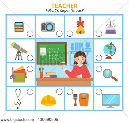 Game For Kids. What's Superfluous What Subjects Does A Teacher Need Professions. Children Funny Ridd