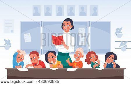 Children And Teacher. Cartoon Primary School Students. Happy Boys And Girls In Kindergarten Listen T