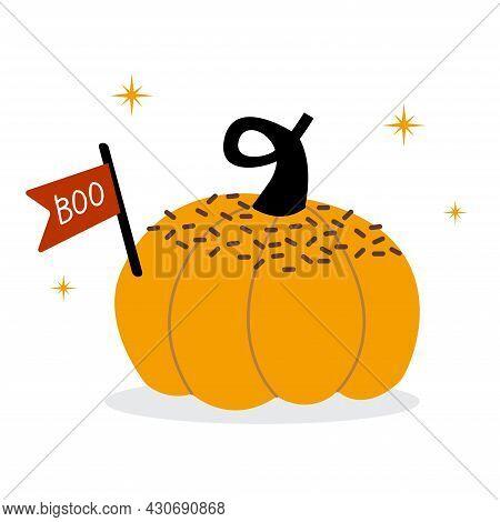Orange Sweet Pumpkin For Halloween And Boo. Ripe Vegetable. For The Harvest Festival. Illustration I