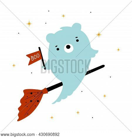 Cute Kids Ghost Bear Flying On A Broom In The Sky With Stars And Boo. Cute Print For Happy Halloween