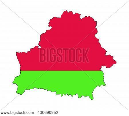 Belarus Flag Map. Vector Illustration Of National Symbol. Graphic Design Of Patriotic Element.