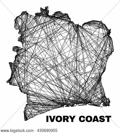 Network Irregular Mesh Ivory Coast Map. Abstract Lines Are Combined Into Ivory Coast Map. Linear Car
