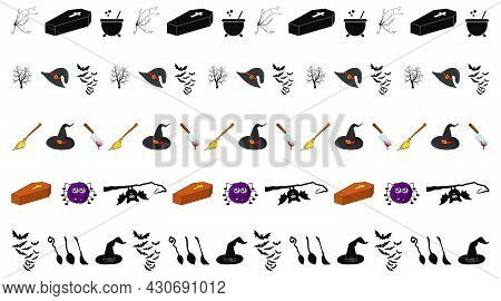 Coffin Spider Divider And More. Halloween Border Set. Simple Vector Design With Spooky Symbol. Horro
