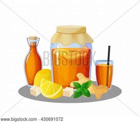 Kombucha Drink. Cartoon Jars And Glasses With Summer Cold Beverage Of Tea Mushroom. Bottles And Lemo