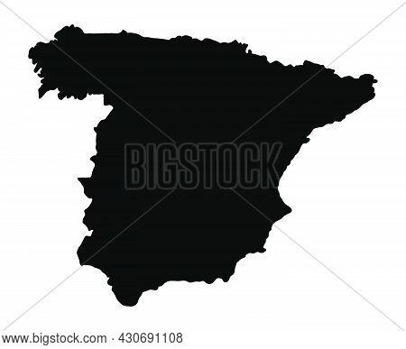 Spain Silhouette Flag Map. Vector Illustration Of National Symbol. Graphic Design Of Patriotic Eleme
