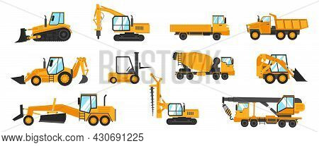 Industrial Vehicles. Cartoon Construction Trucks And Heavy Machinery. Bulldozer And Excavator. Build