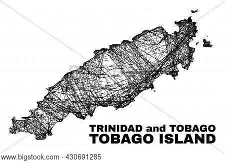 Net Irregular Mesh Tobago Island Map. Abstract Lines Form Tobago Island Map. Wire Carcass 2d Net In
