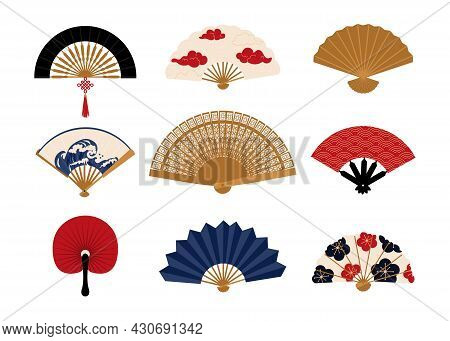 Paper Fan. Chinese Folding Painted Hand Accessories. Japanese Traditional Vintage Clothing Decorativ