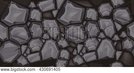 Stone Seamless Pattern, Vector Rock Texture, House Gray Granite Wall Illustration, Cracked Boulder T