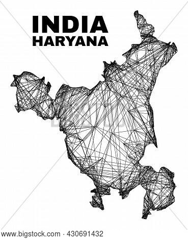 Wire Frame Irregular Mesh Haryana State Map. Abstract Lines Are Combined Into Haryana State Map. Wir