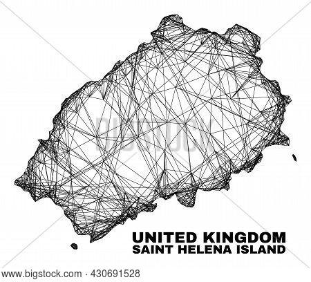 Network Irregular Mesh Saint Helena Island Map. Abstract Lines Are Combined Into Saint Helena Island