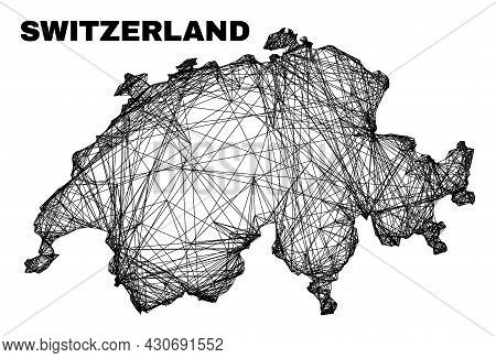 Carcass Irregular Mesh Switzerland Map. Abstract Lines Are Combined Into Switzerland Map. Linear Car