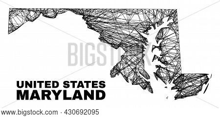 Network Irregular Mesh Maryland State Map. Abstract Lines Are Combined Into Maryland State Map. Line