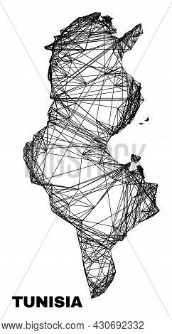 Carcass Irregular Mesh Tunisia Map. Abstract Lines Are Combined Into Tunisia Map. Wire Carcass 2d Ne