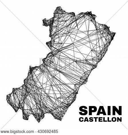 Net Irregular Mesh Castellon Province Map. Abstract Lines Form Castellon Province Map. Wire Frame Fl