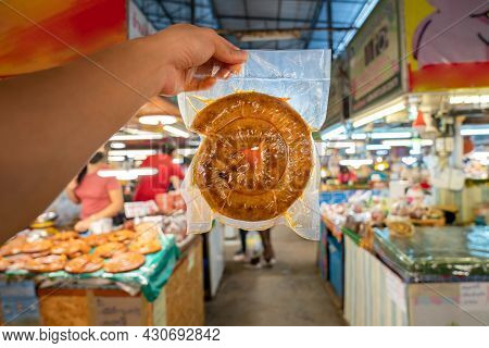 Wrapped Packaging Of Sai Aua, Northern Thailand Spicy Sausage, A Famous Traditional Local Saurage Co