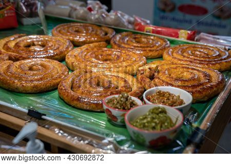Sai Aua, Northern Thailand Spicy Sausage Is A Famous Traditional Local Saurage Cooked With Curry And