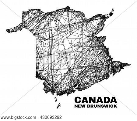 Wire Frame Irregular Mesh New Brunswick Province Map. Abstract Lines Form New Brunswick Province Map