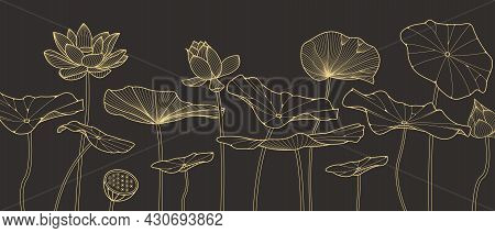 Luxury Golden Lotus Hand Drawn Vector Background. Sketch Floral Botany Collection In Graphic. Lotus