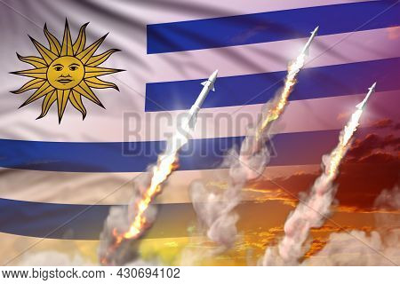 Uruguay Supersonic Missile Launch - Modern Strategic Nuclear Rocket Weapons Concept On Sunset Backgr