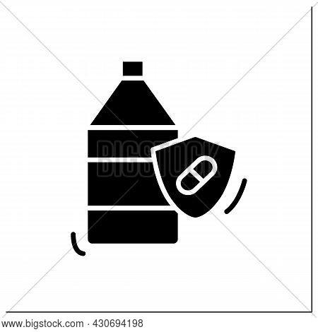 Probiotic Yogurt Glyph Icon.bifidobacterium Drink For Healthy Human Flora. Lactobacillus For Digesti